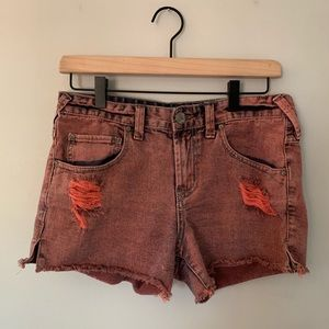 Free People Red Denim Cutoff Distressed Shorts 27